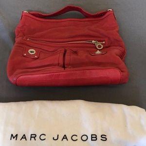 Marc Jacobs red leather hobo shoulder bag